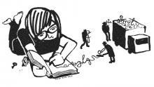 Młoda kobieta pisze pamiętnik, a mali szpiedzy wykradają jego treść.
