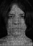 Zdjęcie młodego człowieka pokryte kodem zero jedynkowym.