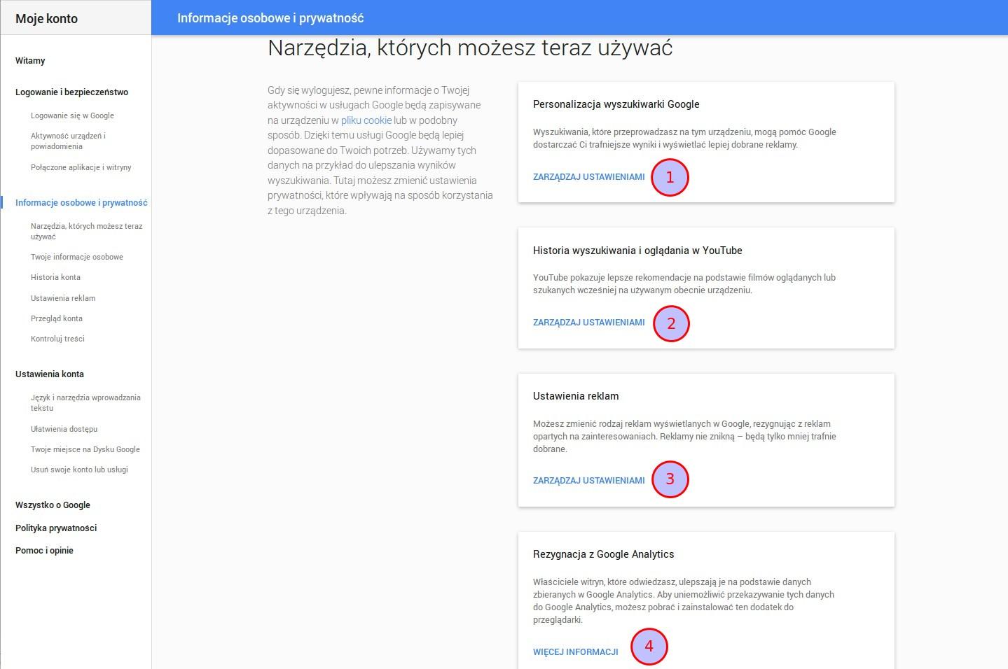 Ilustracja 2. Panel ustawień prywatności konta Google dla osoby niezalogowanej