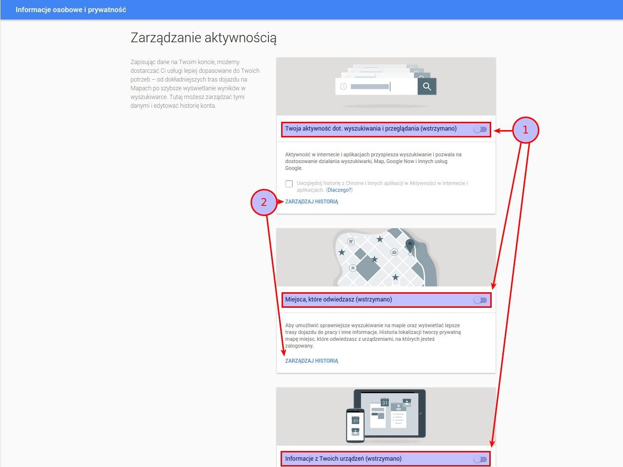 Ilustracja 3. Panel historii konta i zarządzania zbieraniem informacji o Twojej aktywności w sieci, lokalizacji oraz danych z urządzeń i aplikacji mobilnych