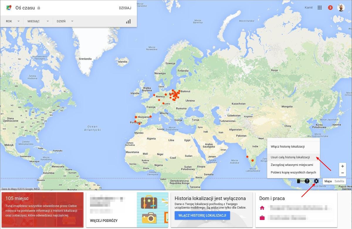 Ilustracja 6. Usuwanie historii miejsc oraz wyłączanie zapisywania lokalizacji