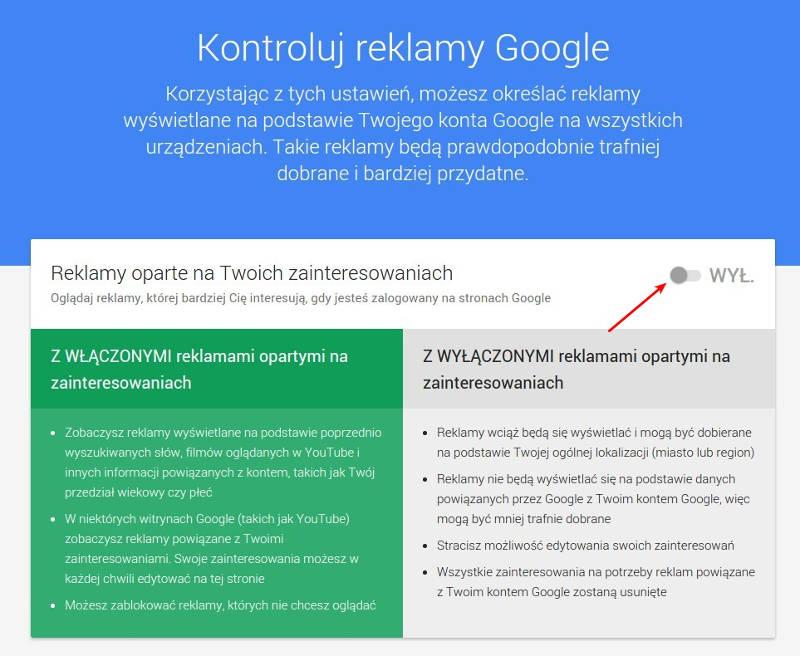 Ilustracja 7. Wyłączenie reklam opartych o zainteresowania i informacje pochodzące z zapytań do wyszukiwarki