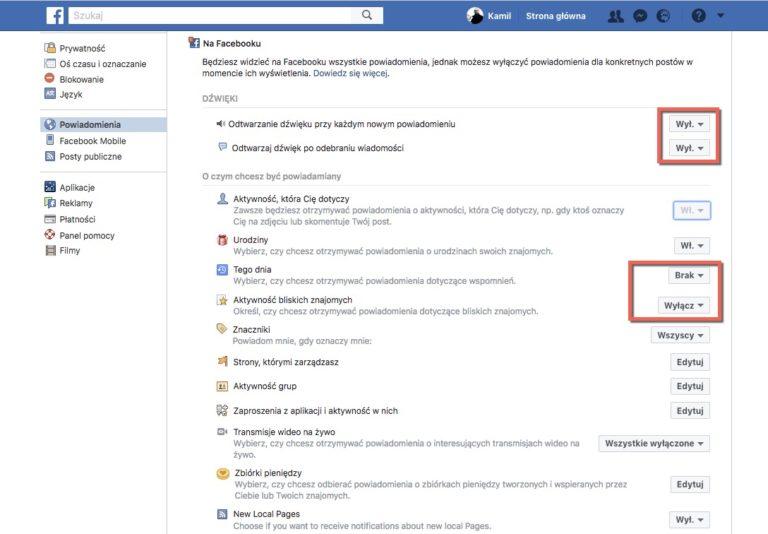 Zrzut ekranu. Powiadomienia Facebook
