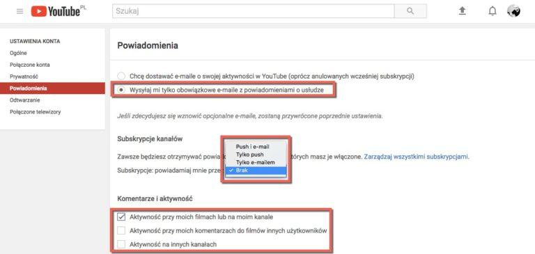 Zrzut ekranu. Powiadomienia YouTube
